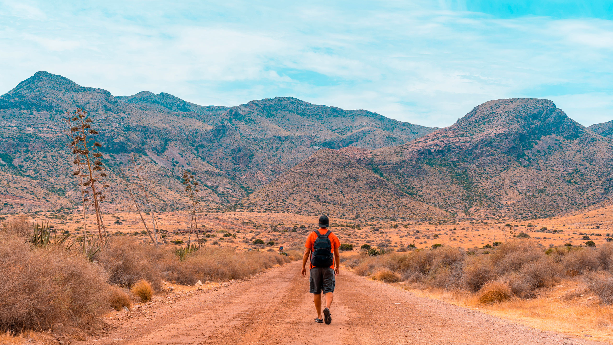 Walking man in Cabo de Gata-Nijar